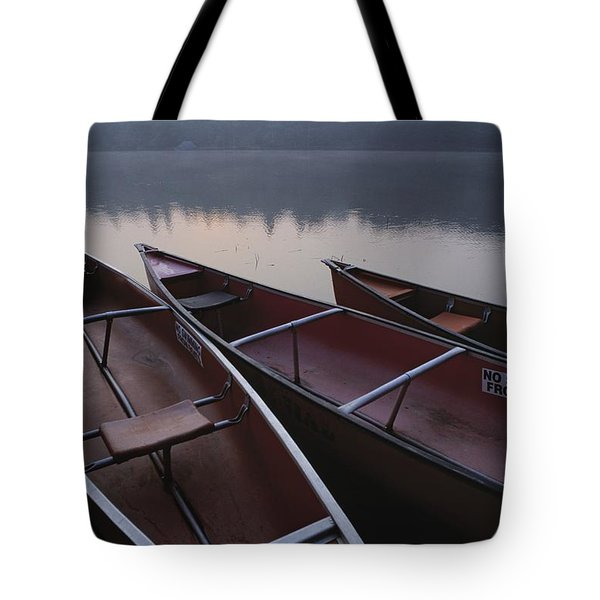 Canoes On Still Water Tote Bag by Natural Selection John Reddy