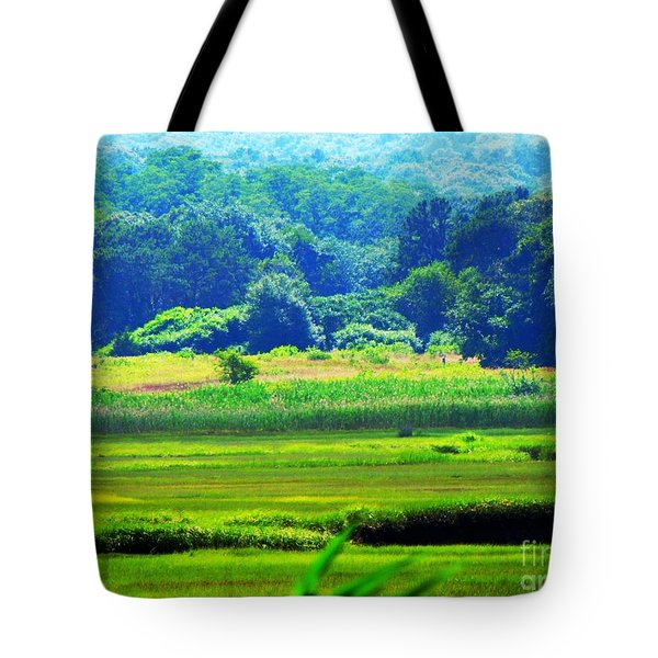 Cape Cod Marsh On A Hot Day Tote Bag by Annie Zeno