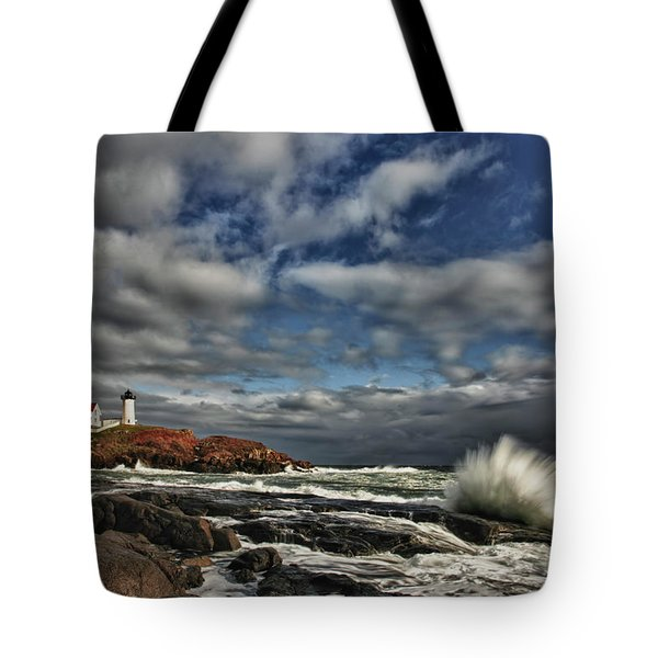 Cape Neddick Lighthouse Tote Bag by Rick Berk
