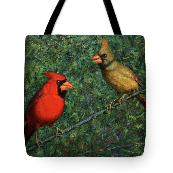Cardinal Couple Tote Bag by James W Johnson