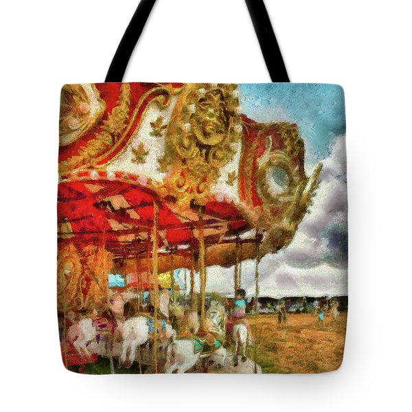 Carnival - The Merry-go-round Tote Bag by Mike Savad