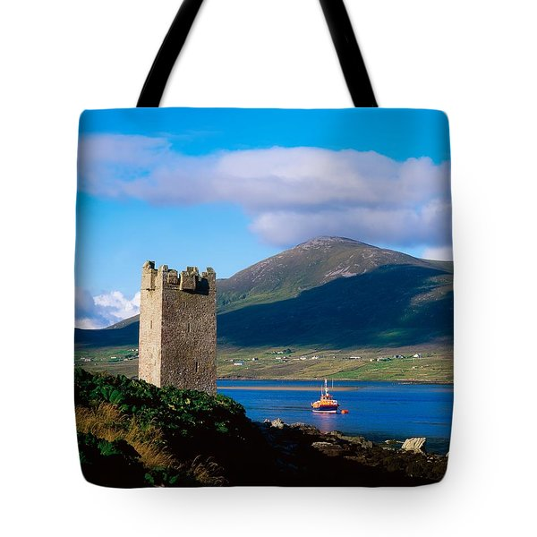 Carrickkildavnet Castle, Achill Island Tote Bag by The Irish Image Collection