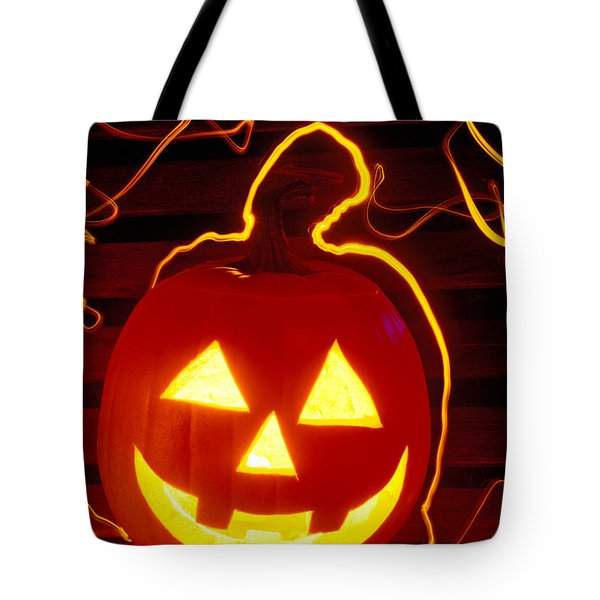 Carved Pumpkin Smiling Tote Bag by Garry Gay