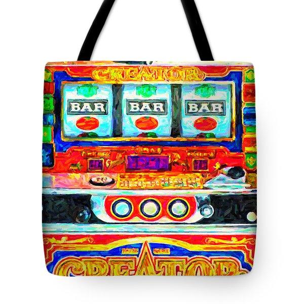 Casino Slot Machine . One Arm Bandit . Triple Bar Bonus Jack Pot Tote Bag by Wingsdomain Art and Photography