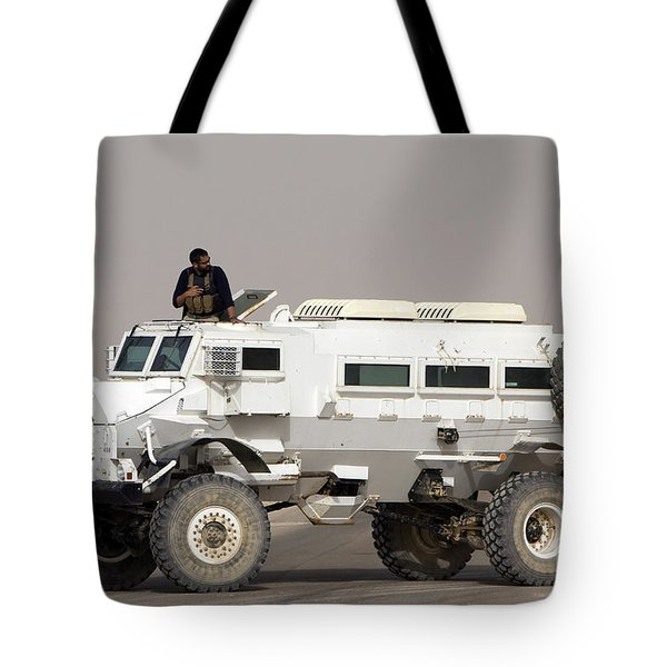 Casper Armored Vehicle Blocks The Road Tote Bag by Terry Moore