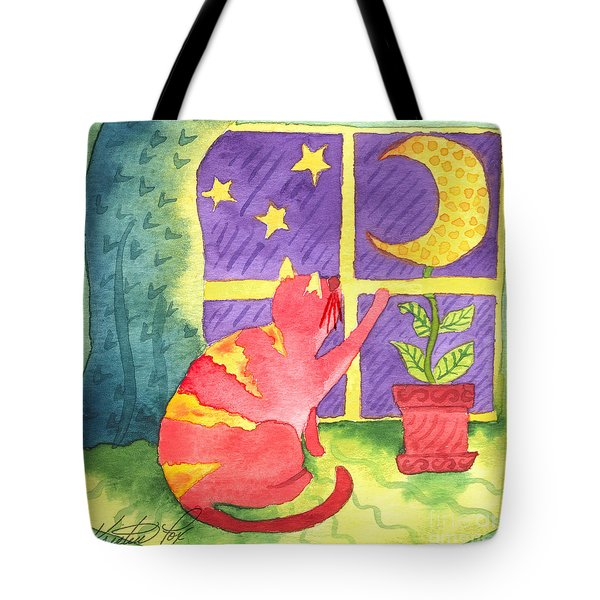 Cat And Moon Tote Bag by Kristen Fox
