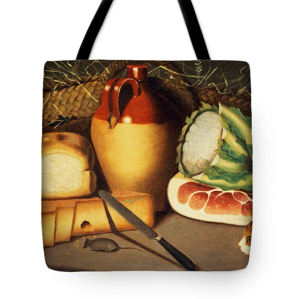 Cat Mouse Bacon And Cheese Tote Bag by Anonymous