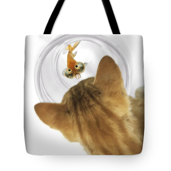 Cat Peering Into Fishbowl Tote Bag by Darwin Wiggett