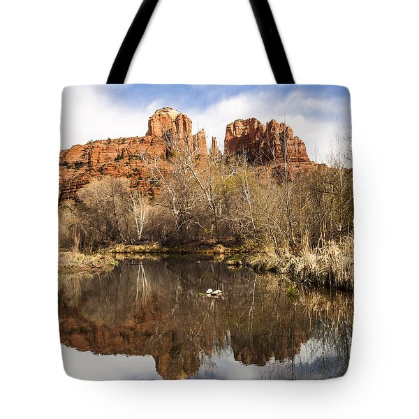 Cathedral Rock Reflections Landscape Tote Bag by Darcy Michaelchuk