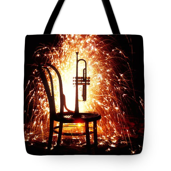 Chair And Horn With Fireworks Tote Bag by Garry Gay