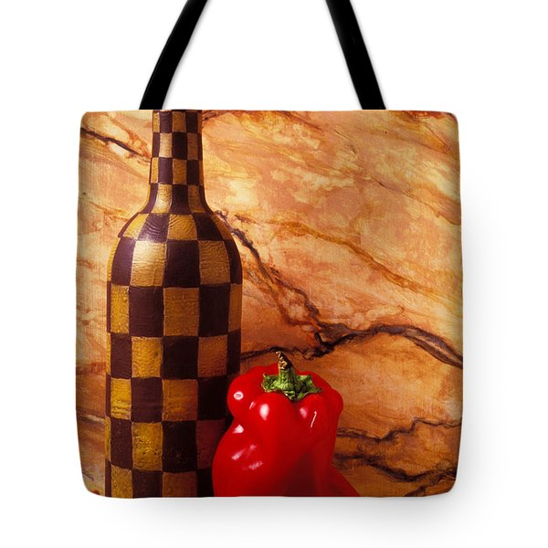 Checker wine bottle and red pepper Tote Bag by Garry Gay