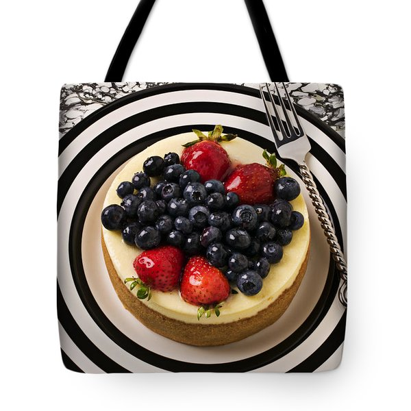 Cheese Cake On Black And White Plate Tote Bag by Garry Gay