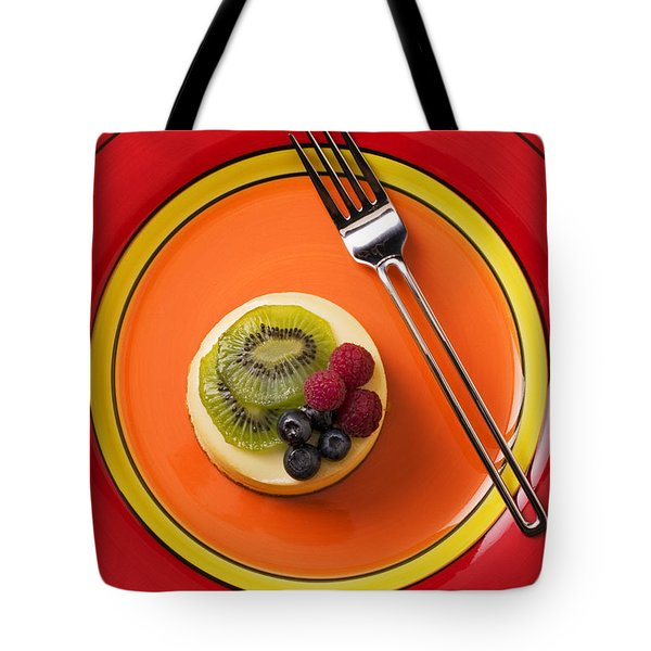 Cheesecake On Plate Tote Bag by Garry Gay