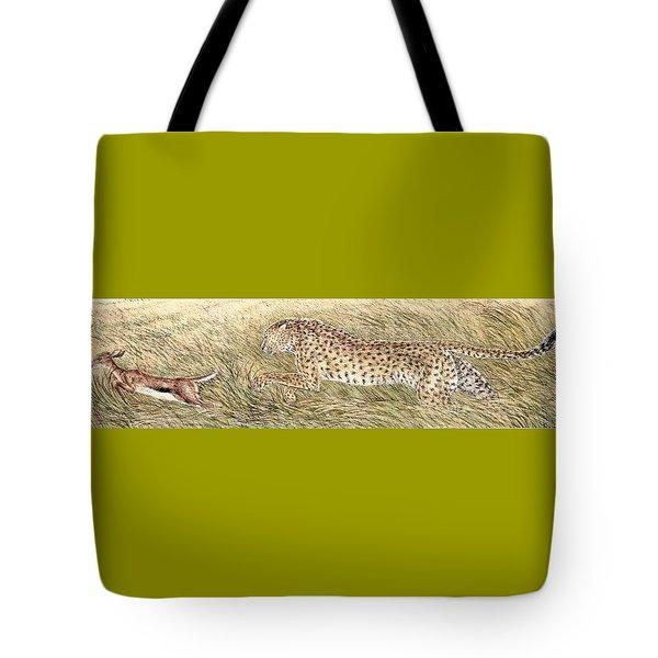 Cheetah And Gazelle Fawn Tote Bag by Tim McCarthy