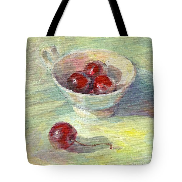 Cherries In A Cup On A Sunny Day Painting Tote Bag by Svetlana Novikova