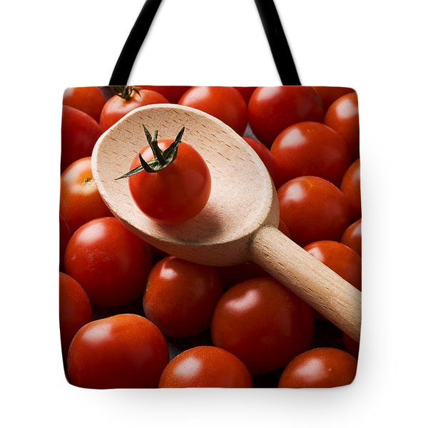 Cherry Tomatoes And Wooden Spoon Tote Bag by Garry Gay