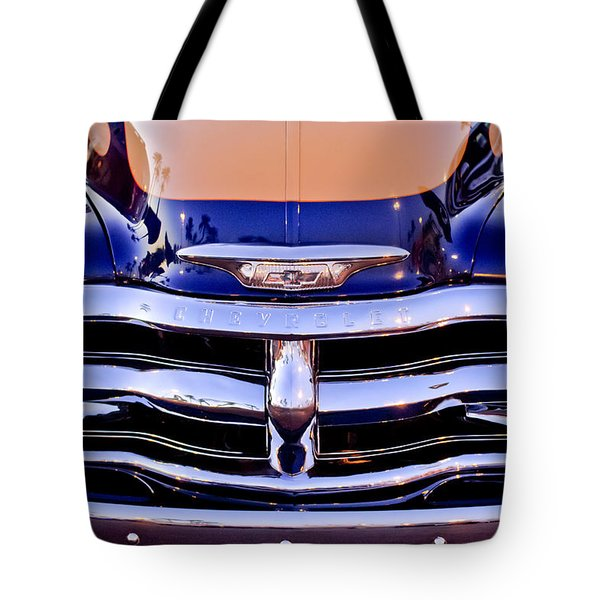 Chevrolet Pickup Truck Grille Emblem Tote Bag by Jill Reger