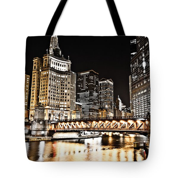 Chicago City At Night Tote Bag by Paul Velgos