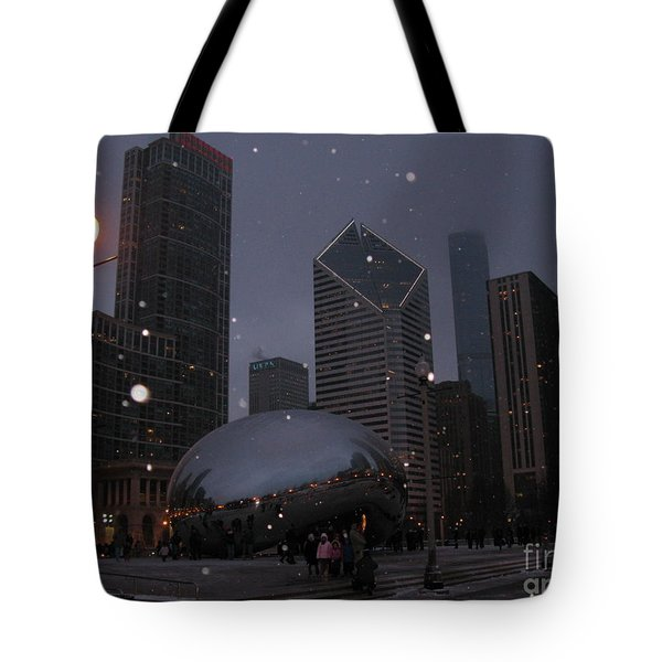 Chicago Cloud Gate At Night Tote Bag by Ausra Paulauskaite