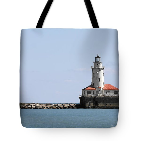 Chicago Harbor Light Tote Bag by Christine Till