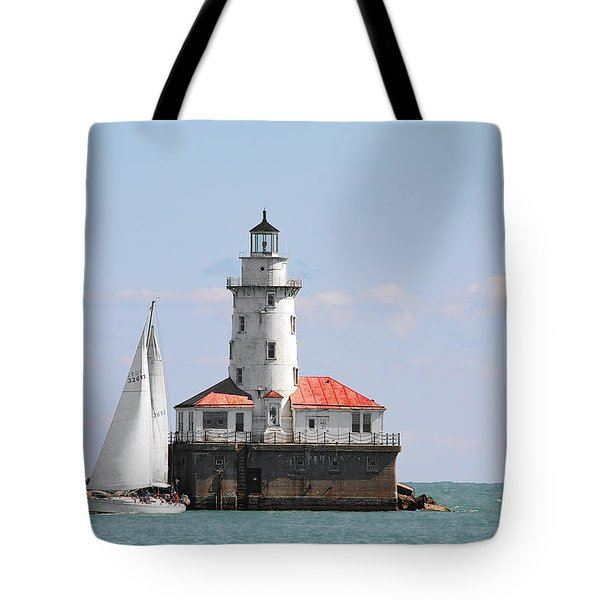 Chicago Harbor Lighthouse Tote Bag by Christine Till