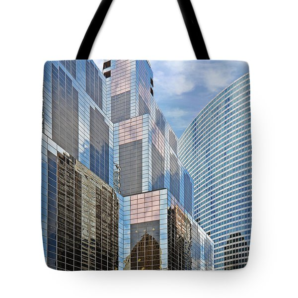 Chicago - One South Wacker and Hyatt Center Tote Bag by Christine Till