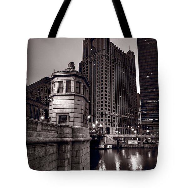 Chicago River Bridgehouse Tote Bag by Steve Gadomski