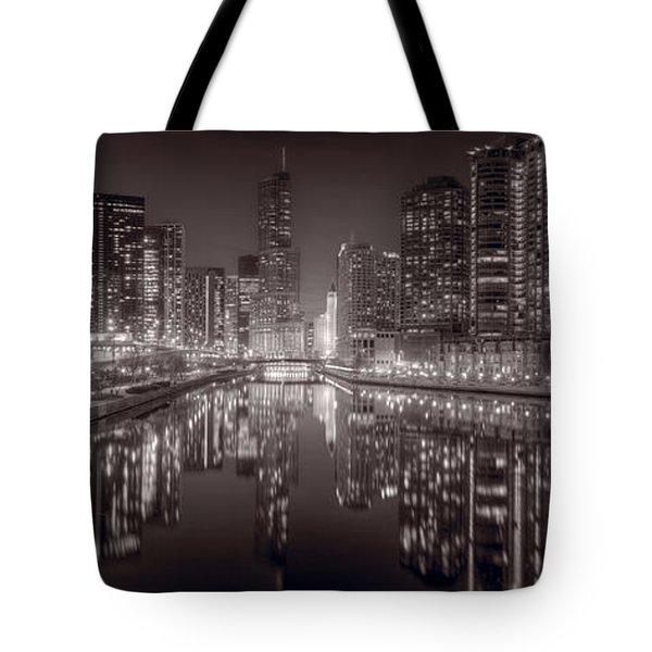 Chicago River East BW Tote Bag by Steve Gadomski