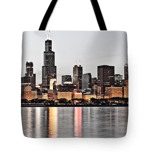 Chicago Skyline at Dusk Photo Tote Bag by Paul Velgos