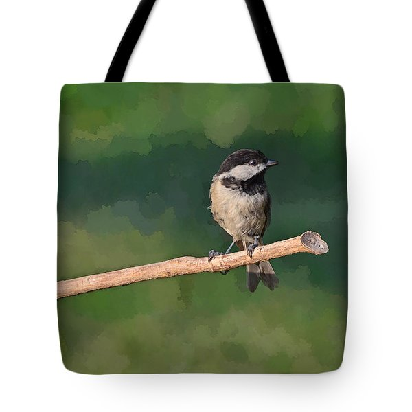Chickadee On A Stick Tote Bag by Debbie Portwood