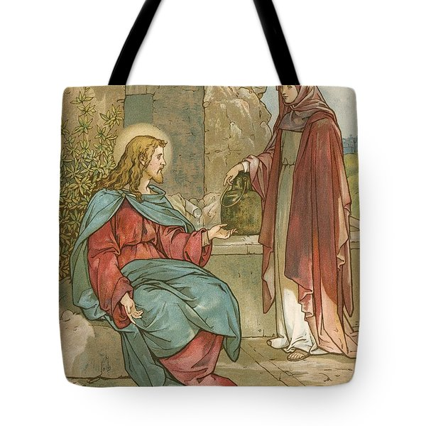 Christ And The Woman Of Samaria Tote Bag by John Lawson