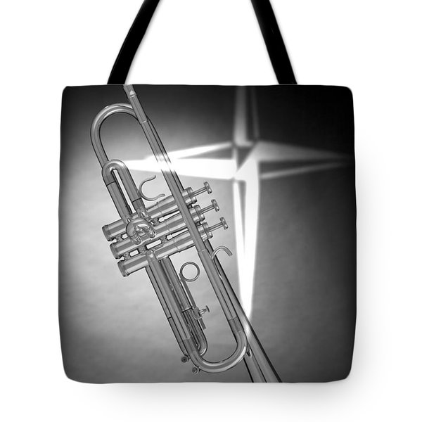 Christian Cross On Trumpet Tote Bag by M K  Miller