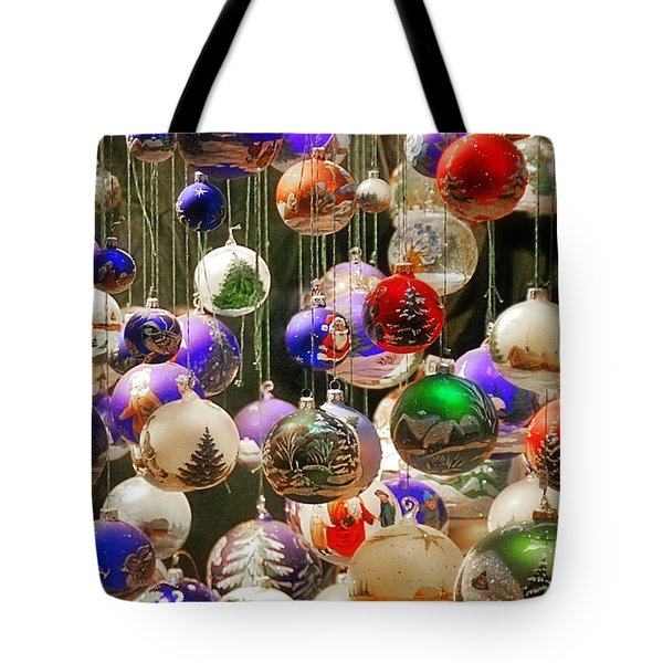 Christmas Holiday Decor - Mouth Blown And Hand Painted Tote Bag by Christine Till