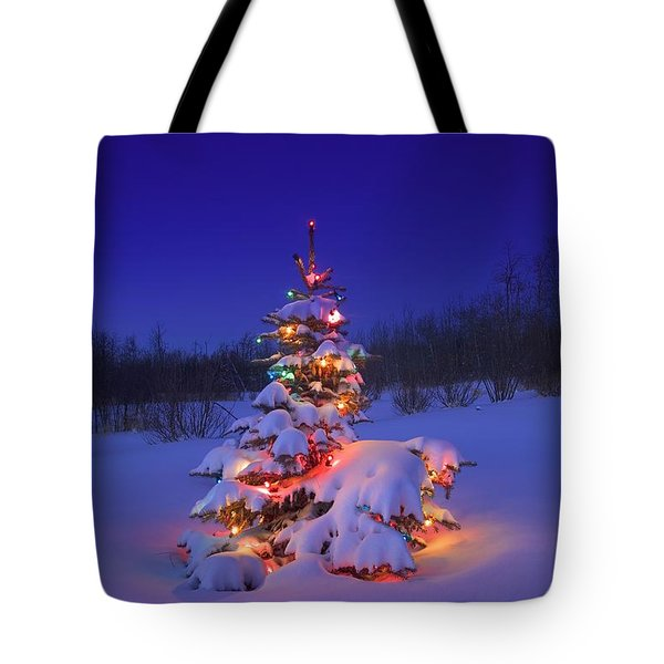 Christmas Tree Glowing Tote Bag by Carson Ganci