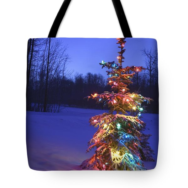 Christmas Tree Outdoors Under Moonlight Tote Bag by Carson Ganci