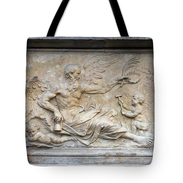 Chronos Relief In Gdansk Tote Bag by Artur Bogacki
