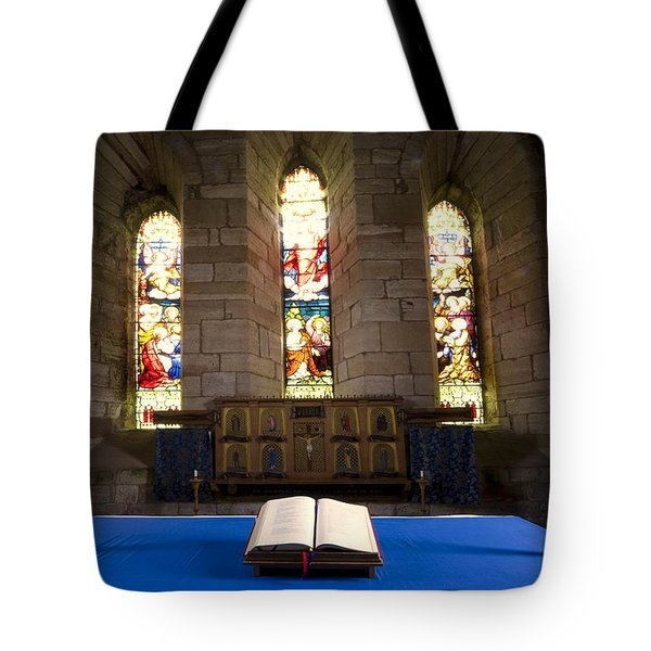 Church And Open Bible, Holy Island Tote Bag by John Short