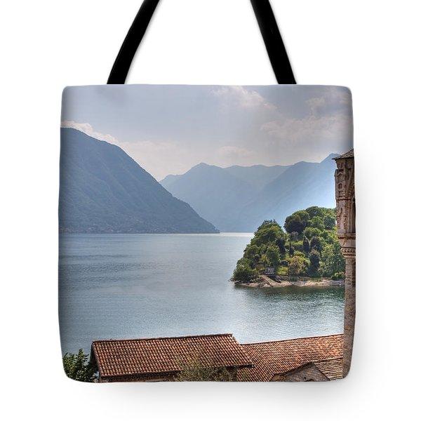 church at the Lake Como Tote Bag by Joana Kruse
