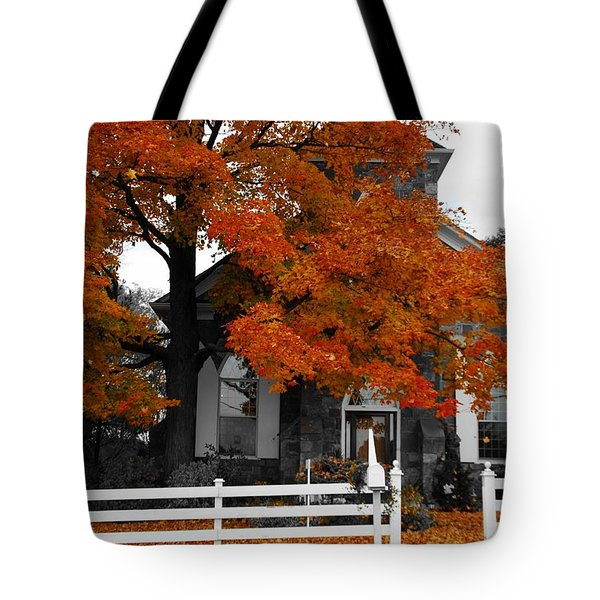 Church In Autumn Tote Bag by Andrea Kollo