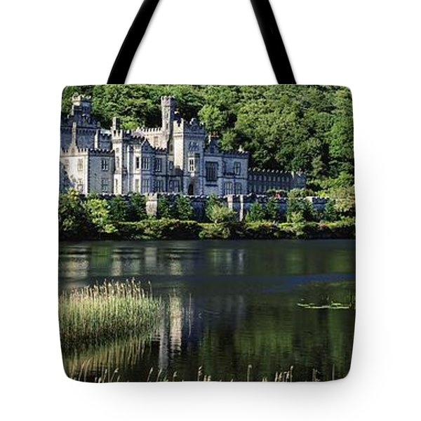 Church Near A Lake, Kylemore Abbey Tote Bag by The Irish Image Collection