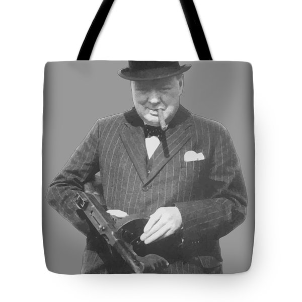 Churchill Posing With A Tommy Gun Tote Bag by War Is Hell Store