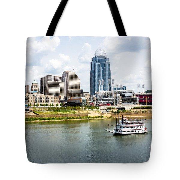 Cincinnati Skyline With Riverboat Photo Tote Bag by Paul Velgos