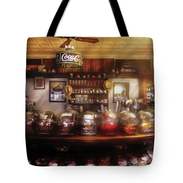 City - NY 77 Water Street - The candy store Tote Bag by Mike Savad