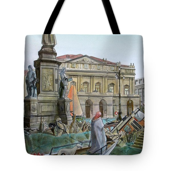 CITY OF MILAN in ITALY UNDER WATER Tote Bag by Fabrizio Cassetta
