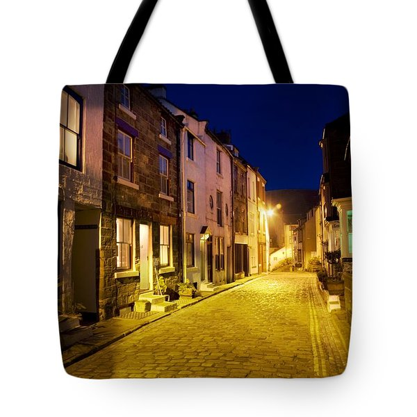 City Street At Night, Staithes Tote Bag by John Short