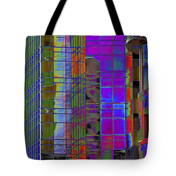 City Windows Abstract Pop Art Colors Tote Bag by Phyllis Denton
