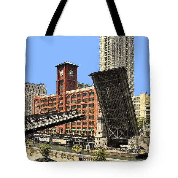 Clark Street Bridge Chicago - A contrast in time Tote Bag by Christine Till