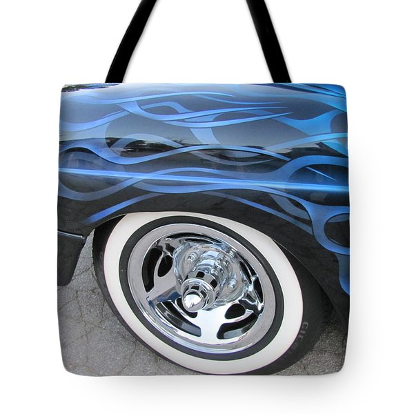 Classic Car Blue Flame 4 Tote Bag by Anita Burgermeister