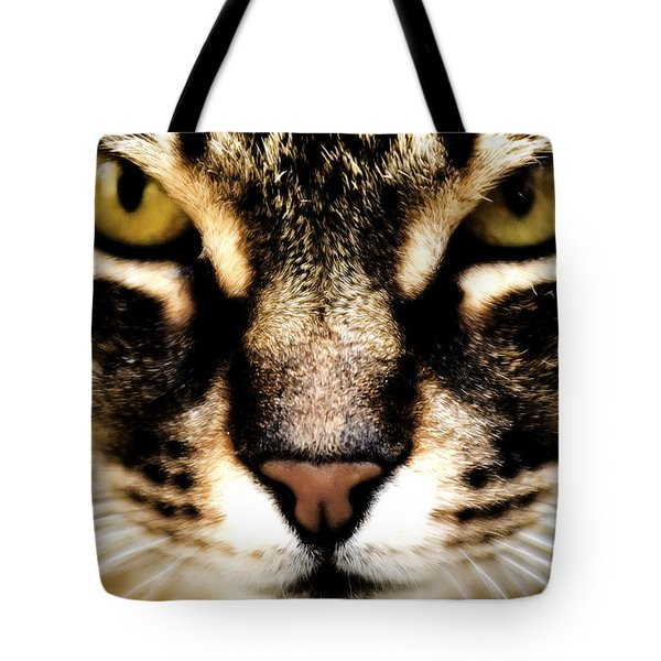 Close Up Shot Of A Cat Tote Bag by Fabrizio Troiani