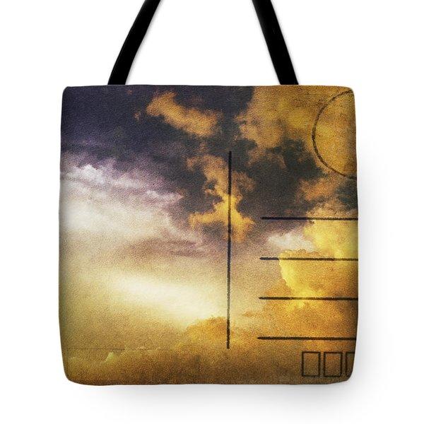 Cloud In Sunset On Postcard Tote Bag by Setsiri Silapasuwanchai